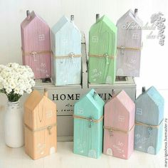 Wood Crafts Interior wooden houses / Buy Interior houses with wooden . Scrap Wood Crafts, Wood Block Crafts, Wooden Crafts, Diy Wood Projects, Wooden Diy, Wood Blocks, Diy And Crafts, Small Wooden House, Wooden Houses