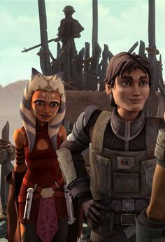 Ahsoka Tano and Lux Bonteri  Love at first sight. They were in love ever since clone wars season three episode 38 heroes on both sides. <3