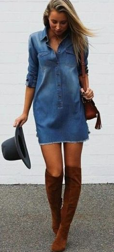 94c5642a8baa 100+ How To Wear Denim Dresses Ideas