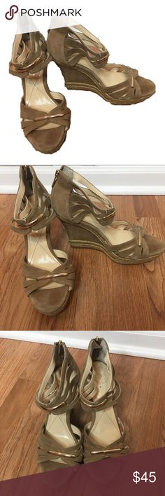 Isola Tan Suede Wedges - Size 8 Like new Isola tan suede open toe wedges in size 8. Isola Shoes Wedges