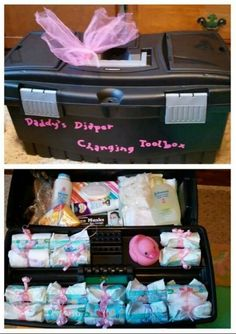 Daddy Diaper Changing Toolbox Diapers, cream, wipes, powder, pacifier, gloves, masks, rain poncho, tongs, distraction toy, baby wash, goggles, earplugs, clothes pin and disinfectant wipes