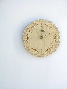 Artisan made lace doily clock-- clocks and lace, two of my favorite things
