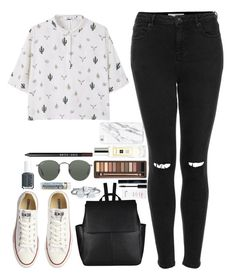 """""""Lazy Saturday walkie."""" by whisperofregret ❤ liked on Polyvore featuring Topshop, MANGO, Converse, John Lewis, Lancôme, Urban Decay, Bling Jewelry, Jo Malone, Ray-Ban and Essie"""