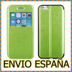 FUNDA IPHONE 6S 6 VENTANA S-VIEW FLIP COVER VERDE CARTERA LIBRO WALLET.PUJAS