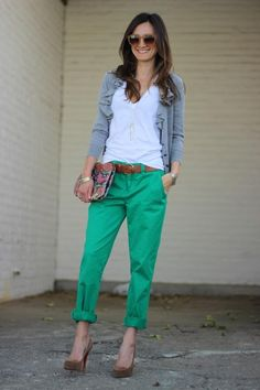 green / white / grey / cognac and cuffed pants