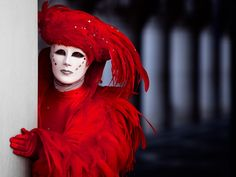 Venice Carnival, the man in red, by David Nightingale