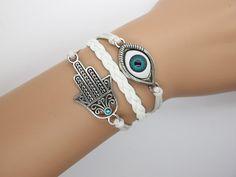 Antique silver hamsa bracelet evil eye bracelet / hamsa jewelry on Wanelo