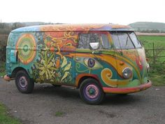 1956 hippie painted VW Panel Van For Sale /Not my pin but I had to repin it because it's so beautiful/