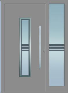 Sternstunden Eingangstüre RHEA 2 - Aluminiumtüre mit Seitenteil außen in grau. Besuchen Sie unseren Schauraum in Gramastetten - dort haben wir einige unserer Haustürmodelle ausgestellt. #Fensterschmidinger #doors #türen #alu #gramastetten #oberösterreich