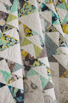 Image © Love Patchwork  Quilting   Detail of flying geese quilt by Jeni Baker using Art Gallery Fabrics