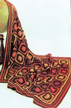 Orange & Brown Granny Square Afghan PATTERN от PearlShoreCat