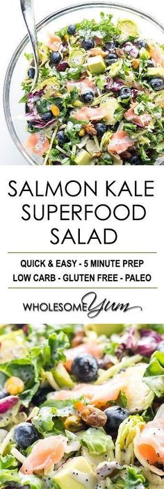 Salmon Kale Superfood Salad Recipe with Creamy Lemon Vinaigrette - Easy sweet kale superfood salad with lemon vinaigrette, smoked salmon and avocado is like a better Costco kale salad. 5 ingredients, plus 5 in the dressing! Replace kale with spinach Kale Superfood, Superfood Recipes, Healthy Salad Recipes, Paleo Recipes, Real Food Recipes, Recipes With Kale, Meat Recipes, Smoked Salmon Salad, Salmon Salad Recipes
