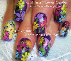 Nail Art - Girl in Flower Garden
