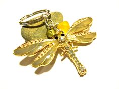 Remembrance Gift, Beautiful Amber Dragonfly Keychain with Wire Wrapped Gold Sea Glass and Brass Initial Charm by YoursTrulli on Etsy