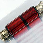 Fine c.1880 Ruby Cut Glass Double End Smelling Salts & Scent Perfume Bottle