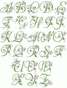 floral monogram letters | Elegant Floral Initials machine embroidery font - natural size sample