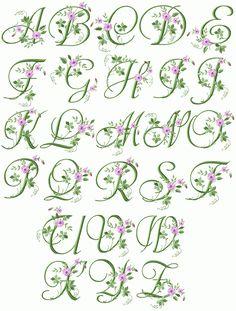 floral monogram letters | Elegant Floral Initials machine embroidery font - natural size sample