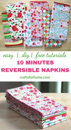 cloth napkins Easy sewing tutorials on how to make double-sided cloth napkins for fat quarters project, perfect for DIY table decor on holiday season and a fun homemade gift. Small Sewing Projects, Sewing Projects For Beginners, Sewing Hacks, Sewing Tutorials, Sewing Tips, Sewing Ideas, Bag Tutorials, Diy Tumblr, Homemade Christmas Gifts