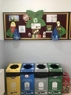 Sıfır atık panomuz 👍🏻 Recyle, Recycling Bins, Preschool, Kawaii, Classroom, Activities, Kids, Sustainability, Sensory Activities