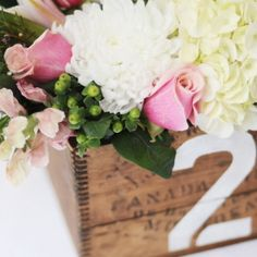Heather look.  I love the canada label Also the table numbers on the box Vintage Box Centerpieces