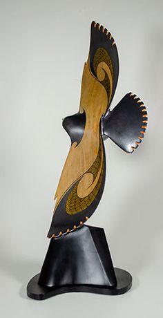 New Zealand Falcon Wood Sculpture, Sculptures, Record Crafts, Wooden Words, Tiki Art, New Zealand Art, Maori Art, Knife Art, Bone Carving