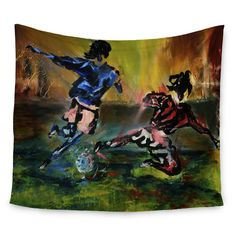 """East Urban Home Slidetackle by Josh Serafin Wall Tapestry Size: 60"""" H x 80"""" W"""