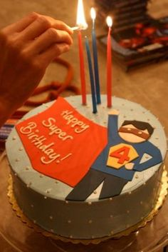 Superhero birthday cake for a 4-year-old (inspired by a Tiny Prints invitation)