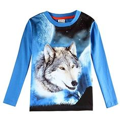 Boy's T shirt 3D Wolf Printed Kids Animal T shirts Children Tees(Random Printed) - GBP £ 5.48