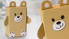 Cardboard teddy bear - Crafts for Kids - Origami Panda Bear Crafts, Teddy Bear Crafts, Diy Teddy Bear, Winter Crafts For Kids, Craft Projects For Kids, Paper Crafts For Kids, Diy For Kids, Craft Ideas, Diy Projects