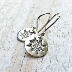 Silver Snowflake Earrings - Sterling Silver PMC Metal Clay Fine Silver Earrings Gift under 40 by BeadinByTheSea on Etsy https://www.etsy.com/listing/85433547/silver-snowflake-earrings-sterling