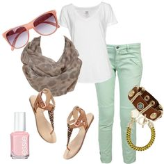 I'm surprised I like this, honestly. Something about the mint green pants just caught my eye. :)