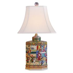 East Enterprises Table Lamp   The Color Drenched Porcelain East Enterprises  Table Lamp Boasts An Intricate Chinese Village Scene And Coordinating Ball  ...