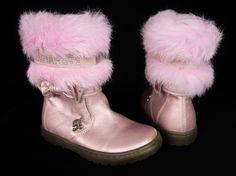 BLUMARINE New Girls Boots 8 24 UK 7 Pink Leather Fur Bow Jewels Shoes NWOB #Blumarine #Boots