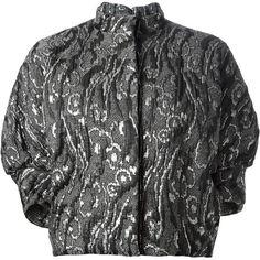 BALENCIAGA brocade jacket (24 795 UAH) ❤ liked on Polyvore featuring outerwear, jackets, balenciaga, funnel neck jacket, short cropped jacket, cropped jacket, short jacket and vintage jackets