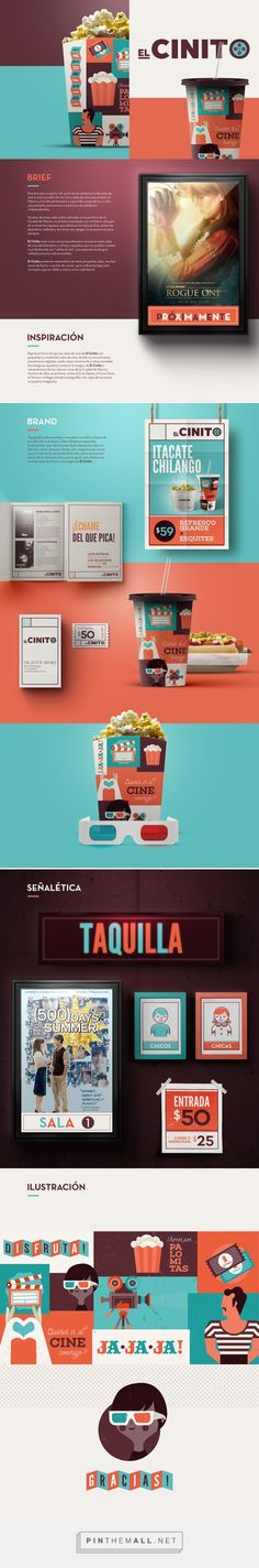 Graphic design, branding and packaging for El Cinito on Behance curated by Packaging Diva PD. Nuestro país ocupa la 10ª. posición en asistencia a las salas de cine a nivel mundial.