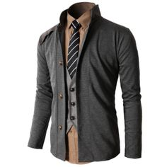Doublju Men's Vintage Slim Fit Fashion Jacket Cardigan (KMOCAL057)