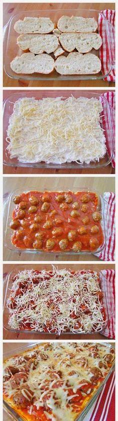Meatball Sub Casserole. The post Meatball sub casserole appeared first on Recipes. I Love Food, Good Food, Yummy Food, Delicious Recipes, Meatball Sub Casserole, Meatball Subs, Meatball Dish, Meatball Bake, Meatball Recipes