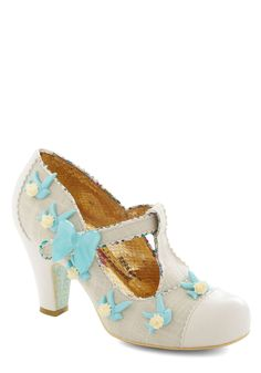 Isn't She Dove-ly? Heel by Irregular Choice - White, Print, Bows, Flower, Wedding, Party, Vintage Inspired, Fairytale