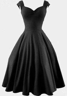 Robe mi-longue balançoire v-cou vintage mode uni de style hepburn audrey plissé noir