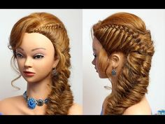 Braided hairstyle for party/everyday. Medium long hair tutorial - YouTube