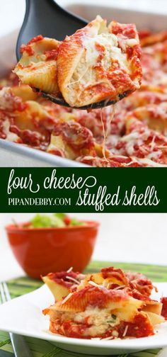 Four Cheese Stuffed Shells - four cheese stuffed into giant shells and covered with sauce. This is a family favorite!