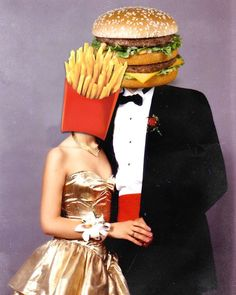 Hamburger on a blind date to the prom with Fries