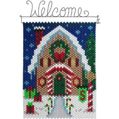 Pony Bead Patterns, Beading Patterns, Cross Stitch Patterns, Pony Bead Crafts, Beaded Crafts, Christmas Jewelry, Christmas Crafts, Christmas Wall Hangings, Beaded Banners
