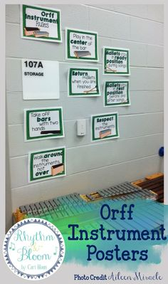 Orff Instrument Posters: Labels, Set-Ups, and Rules. These are so perfect for music teachers!  #musictpt #elmused  #musedchat #Orff #OrffSchulwerk #musiceducation