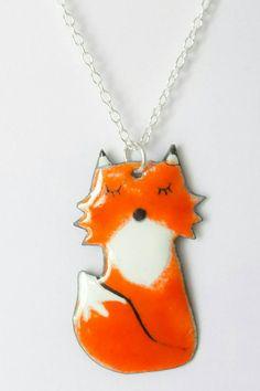 Collier mi-long petit renard par Deverreetdemail sur Etsy