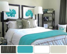 Decorating Bedroom Ideas - Turquoise accents against white, khaki, & charcoal