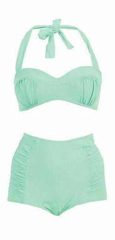 Marina West High Waisted Bikini Swimsuit Set (S, Rose Mint) Bikini Inspiration, Summer Wear, Summer Outfits, Cute Outfits, Color Menta, Solange, Retro Mode, Cute Bathing Suits, Vintage Bathing Suits