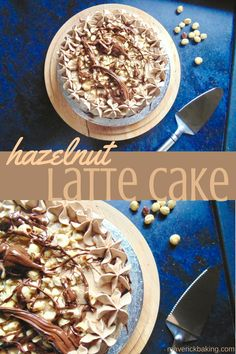 Hazelnut Latte Cake; fluffy hazelnut coffee flavoured cake, slathered with whipped Nutella coffee buttercream frosting and topped with toasted hazelnuts and lashings of melted Nutella!