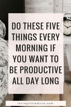 If you find yourself struggling to stay productive all day long, begin by implementing these five techniques, and repeat them day after day until they become a habit. #productivity #intentionalliving #productivitytips #morningroutine