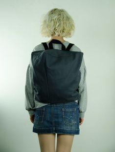 Gray canvas minimalist backpack with zipper, Minimal rucksack, Book Bag, Travel Bag